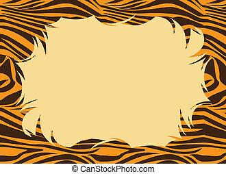 Tiger Fur Print Border - Frame with a tiger print.