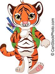 tiger, gå, till, skola