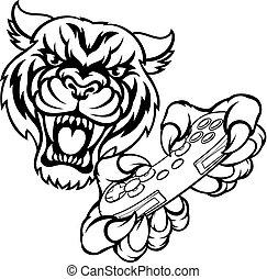 tiger, gamer, mascote