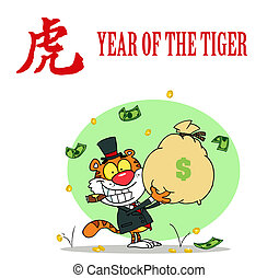 tiger, geld, rijk, het houden zak