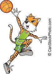 tiger, giocatore, pallacanestro, arte, vettore
