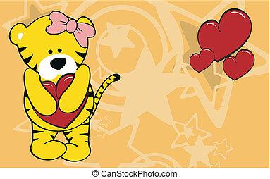 tiger girl cartoon love wallpaper