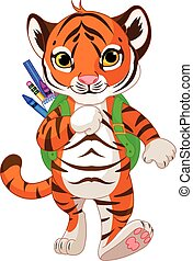 Tiger Go to School - Illustration of little tiger goes to...