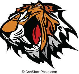 tiger, graficzny, wektor, maskotka