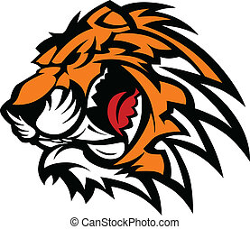 tiger, grafik, mascot