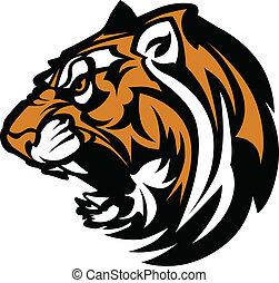tiger, grafisch, mascotte