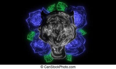tiger head and roses with laser animation - tiger head and...