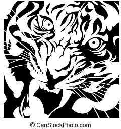 tiger head black and white