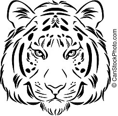 Tiger head. Black and white outline