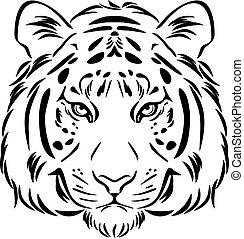 Tiger head. Black and white outline. Vector illustration