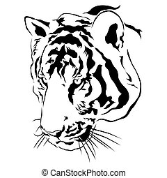 Tiger head black and white, Vector