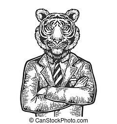 Tiger head businessman engraving vector illustration....