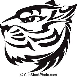 Tiger head design, vintage engraving.