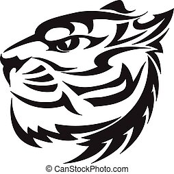Tiger head design, vintage engraving.