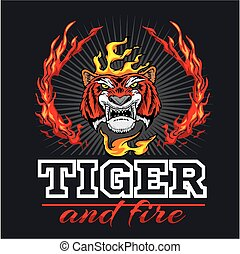 Tiger head hand and fire - vector illustration - Tiger head ...