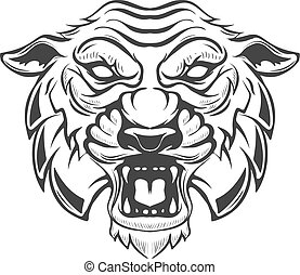 tiger head illustration isolated on white background. Images for