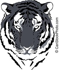 tiger head in grey interpretation 4