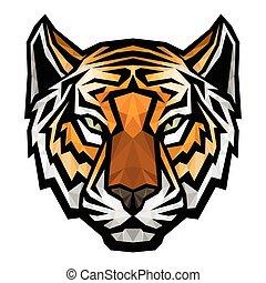 Tiger head logo mascot on white background