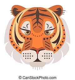 Tiger Head Logo. Vector decorative Emblem.