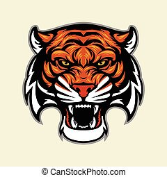 tiger head mascot - Multi Colors Illustration Of tiger head...