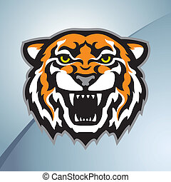 Color tiger head mascot on the metal background. Stylized vector illustration.