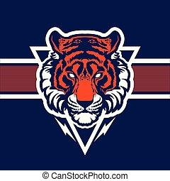 Tiger head mascot.
