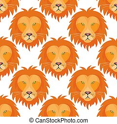 Tiger head royal seamless pattern background with beautiful animal vector hand drawn lion face illustration.