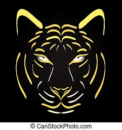 Tiger head silhouette. Vector tiger icon as a design element on black background