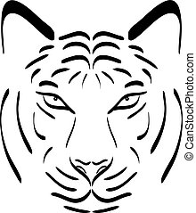 Tiger head silhouette. Vector tiger icon as a design element on isolated background