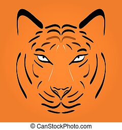 Tiger head silhouette. Vector tiger icon as a design element on orange background