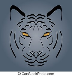 Tiger head silhouette. Vector tiger icon