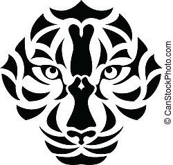 Tiger Head Tattoo - vector illustration of Tiger Head Tattoo