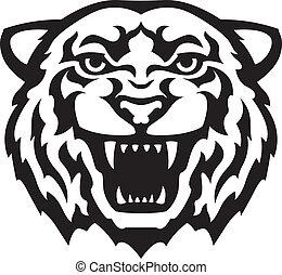 Tiger head tattoo - Black and white tiger head tattoo....