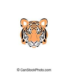 tiger, head., vektor, illustration