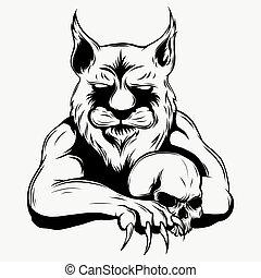 tiger, head., wektor, ilustracja, anger.