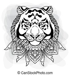 Tiger head with ornament mandala. Vintage hand drawn illustration in linear style. Black and white drawing isolated on white.