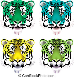 tiger heads - vector set of colorful tiger heads