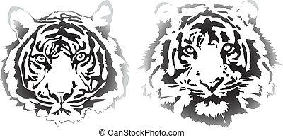 tiger heads in gradient interpretation in vectorial format