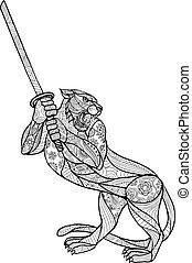 tiger, het slingeren, mandala, katana