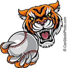 Tiger Holding Baseball Ball Mascot