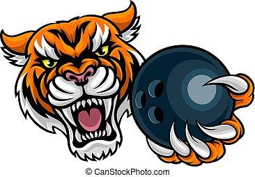 Tiger Holding Bowling Ball Mascot