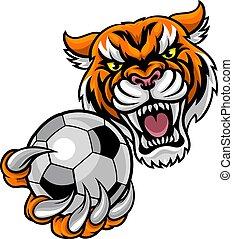 Tiger Holding Soccer Ball Mascot