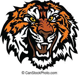 tiger hovede, grafik, snerr, mascot