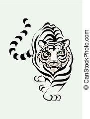 tiger, hvid, vektor, illustration, stolen.