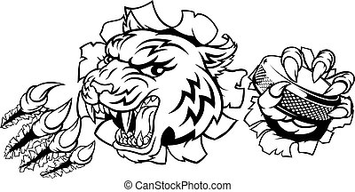 Tiger Ice Hockey Player Animal Sports Mascot