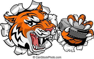 A tiger ice hockey player animal sports mascot holding a puck