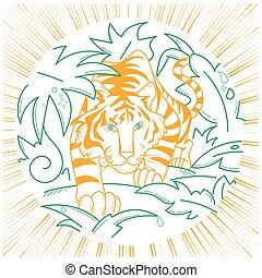 tiger, icona, natura