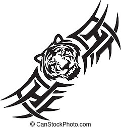 tiger, illustration., -, symetryczny, wektor, tribals