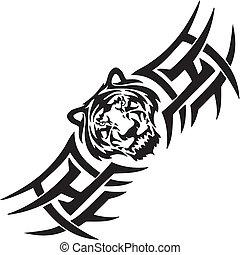 tiger, illustration., -, symmetrisch, vector, tribals