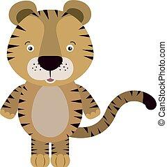 Tiger, illustration, vector on white background.